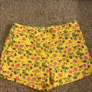 Yellow floral Loft shorts